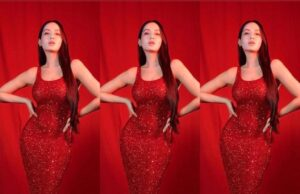 Nora Fatehi is a breathtaking beauty in figure-hugging red shimmer gown