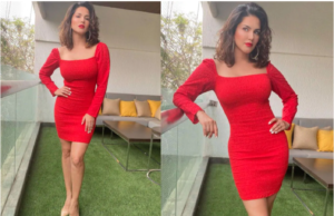 sunny leone looks so bold and beautiful in short red dress