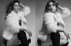 Hina Khan sets Instagram on fire with monochrome photoshoot in a furry jacket