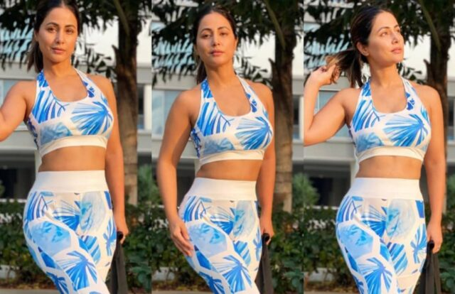 Hina Khan Flaunts Her Toned Figure in Blue Gym Outfit - SEE