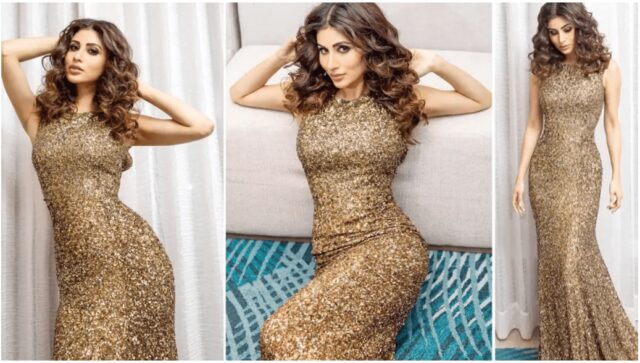 Mouni Roy Looks Sultry in Body-Hugging Shimmery Golden Gown