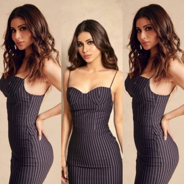 Mouni Roy stuns her fans in her black striped bodycon outfit