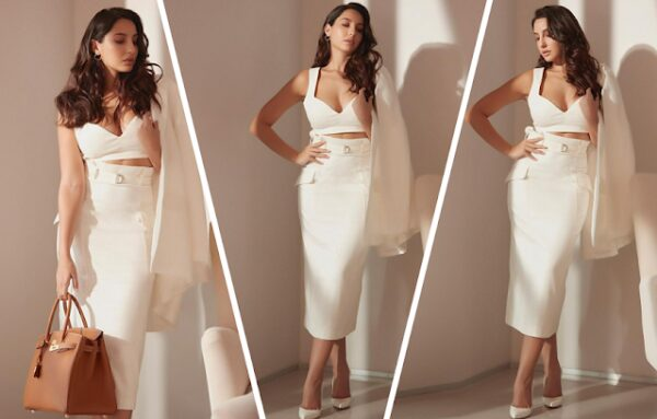 nora fatehi looks hot in white skirt and bralette top