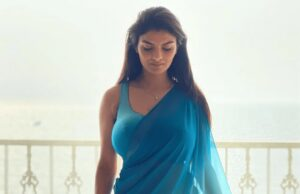 Anveshi Jain Looks So Hot and Sexy in Royal Blue Saree .