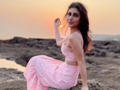 Mouni Roy Looks So hot in a Pastel Pink Crop Top And Skirt
