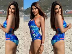 Khatron Ke Khiladi 11 star Nikki Tamboli sizzles in printed blue swimsuit in Cape Town