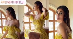 Mouni Roy Looks Smoking Hot In Sultry Thigh-High Slit Yellow Floral Dress